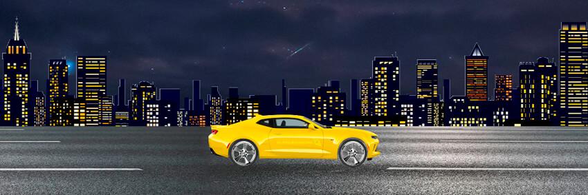 Машинка едет по ночному городу на CSS